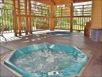 2 Covered Outdoor Hot Tubs with restrooms