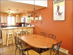 Copper Dining Table, Wrought Iron Chairs