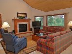 Living Room with HDTV, Sleeper Sofa, Fireplace, Recliners, & Views!