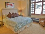 Large Master Bedroom with King, HDTV, 5 Piece Ensuite Bath, & River View.