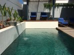 Stunning pool 7.5m X 3m has all day sun and water feature on timer providing a very calming setting.