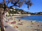 Villefranche beach with two beachside cafes for lunch or a late afternoon apero