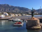 The nearby El Portet port, with many water sports, a cafe and boats to hire.