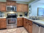 Plenty of counter and storage space in this open kitchen.