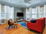 Living room space with LCD HD smart TV