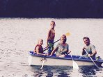 family fun in a very safe double hull row boat to prevent tipping!