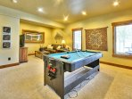 Pool and Air Hockey Table combination, Xbox One and 55' flat sceen TV. Queen Size Sleeper Sofa