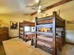 Upstairs Bunkroom with dresser and Rocky Mountian themed Decor