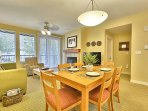 6-Chair Dining Table and View of Spacious Living Room, Queen Sleeper Sofa
