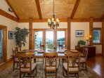 Large dining room with views of back deck and long range views.