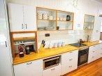 Large modern kitchen, yes that is a Nespresso coffee machine, enjoy!
