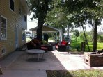 Side Yard patio for great times, sitting around a fire-pit, crawfish boil and just plain fun!