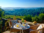 Enjoy stunning views over Lathkill dale from the terrace. Cosy blankets provided for chillier days