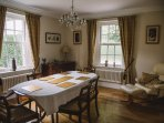 The elegant dining room is great for breakfast and evening meals