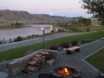 View of fire pit and river looking South