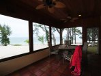 View from beach in outdoor screened in dining area Beach House #1