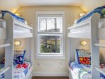 Bunk bedroom with 4 Twin beds with Posturepedic mattresses on the second floor