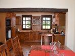 French style Kitchen with cooker and microwave.