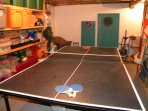 lower level ping-pong table and 2 dart games and some exercise equipent