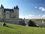 Our favourite picnic spot by Saumur chateau looking along the river Loire.