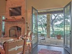 The beautiful french doors open right up into the living area.