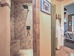 Rinse off in the beautiful walk-in shower.