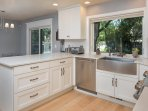 Renovated kitchen, stainless farm sink, Commercial appliances, 2 ovens, micro-convect, side by side