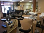 The fitness facility has everything you need