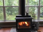 Stay warm with the natural heat of the fireplace (there is also electric heating).