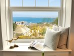 Stunning views over town and sea from the living room window