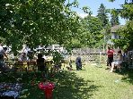 Lunch party under the apple trees