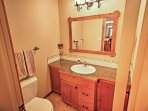 You'll find 1.5 bathrooms featured in this cabin for added convenience.