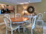 Dining area has seating for 6.