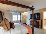 The King Master suite has a Tempur-pedic mattress, 65' TV with DVR, Sirius/XM and organic bedding