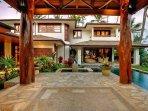 Hale Koa Entry cabana with natural Ohia wood columns