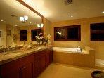 This Hale Koa bathroom is spacious and beautiful as well.