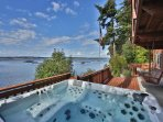 Hot tub on deck with view of mussel farms