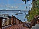 Porch swing on lower deck