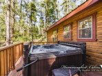 Relaxing hot tub time with wooded view