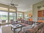 The spacious living room is a terrific place to unwind.