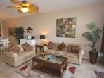 Spacious Living Room Area with Flat Screen Cable TV/Private Waterfront Patio Overlooking The Intercoastal