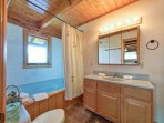 A jetted tub in the master bath