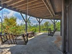 This second porch swing provides shade and relaxation.