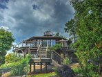 The stunning exterior will help you feel right at home at this Purlear vacation rental cabin.