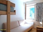 Bedroom with 1 bed and 1 bunk bed