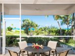 screened patio with ocean view