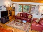 Living room has a queen size sleeper sofa. 46' Dish TV, DVD/VHS/Sirius radio.