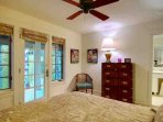 The Roomy & Comfortable Princess Bedroom with Queen Bed, it's own Deck Entrance & Full Bath