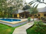 our largest villa with 4 bedrooms, a full kitchen and cinema room with surround sound