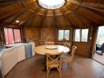 Cooking and eating facilities in central yurt